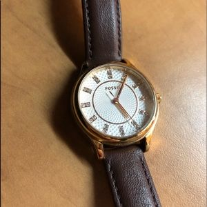 Brown Leather and Gold Fossil Watch